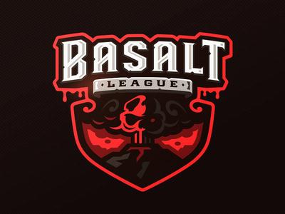 Basalt League e-sport skull sports zerographics logo lava volcano league basalt