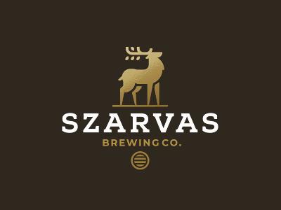 SZARVAS zerographics stag elk deer logo beer brewing szarvas