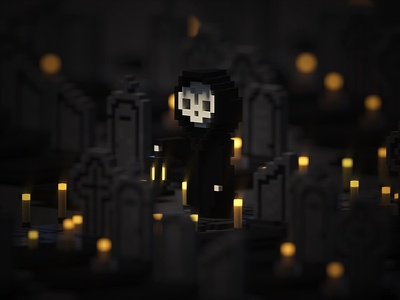 Memento mori mori skull death memento zerographics illustration magicavoxel voxel 3d