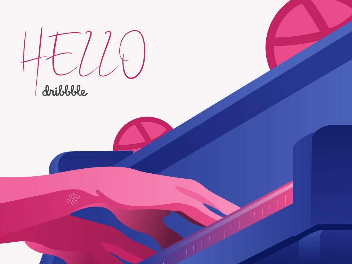 Hello, Dribbble ! fingers woman design illustration pianist piano hello dribbble dribbble