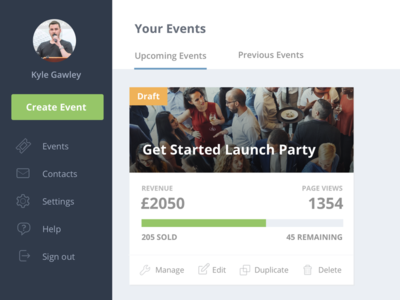Get Invited Event Listing tickets ticketing web app dashboard event