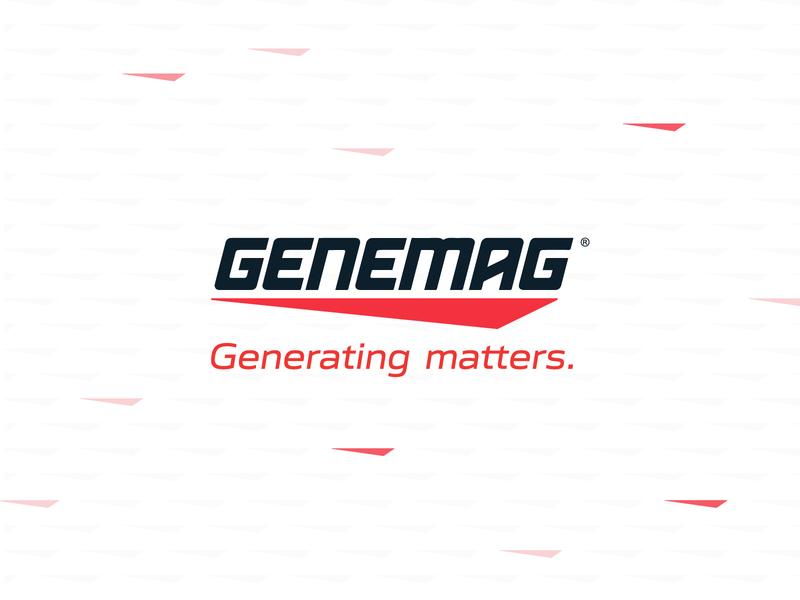 GENEMAG Logo & Visual Identity Design motion generator slanted grey logo design logo designer red clean typography branding art direction visual identity logo