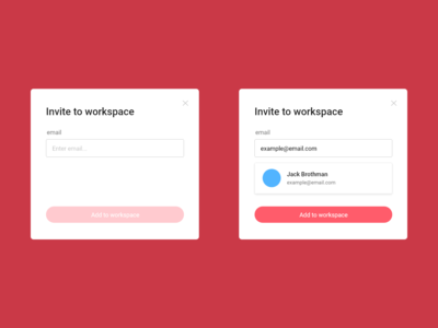 Add to workspace popup
