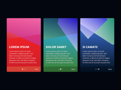 Onboarding screen with crazy colors