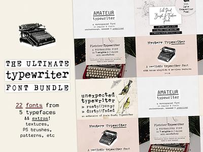 The Ultimate Typewriter Font Bundle font bundle typeface vintage font vintage typewriter vintage typewriter font typewriter font typewriter sans serif font serif font retro design font typography design