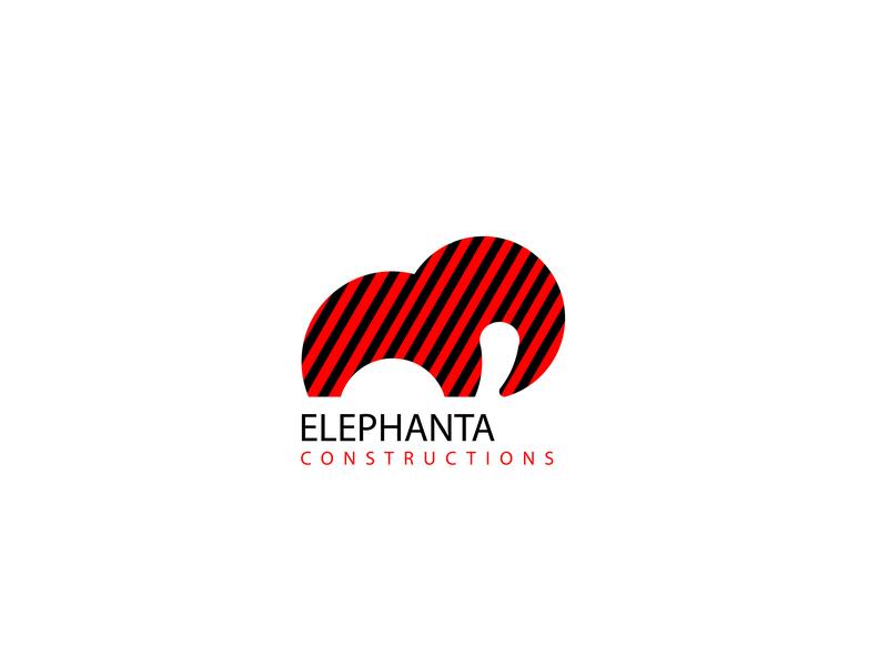 Elephanta Constructions animal strong arcithects buildings constructions elephanta elephant plain simple vector icon branding logo design flat adobe illustration