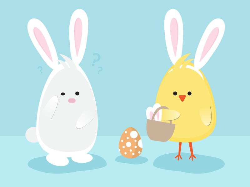 Easter confused design agency fun chick easter egg easter bunny ui fun art easter adobe graphic  design art graphic characters illustrator illustration design