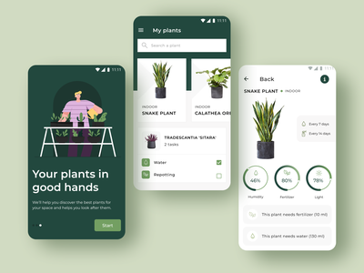 Plants Android application - play the prototype on UIGiants.com plants app clean planting flower minimal graphic design android prototype uigiants typography plants mobile app design mobile app mobile illustration ux ui