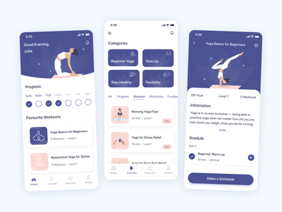 Yoga app - play the prototype on UIGiants.com vector ux app mobile design illustration mobile ui mobile app ui yoga mobile yoga app yoga