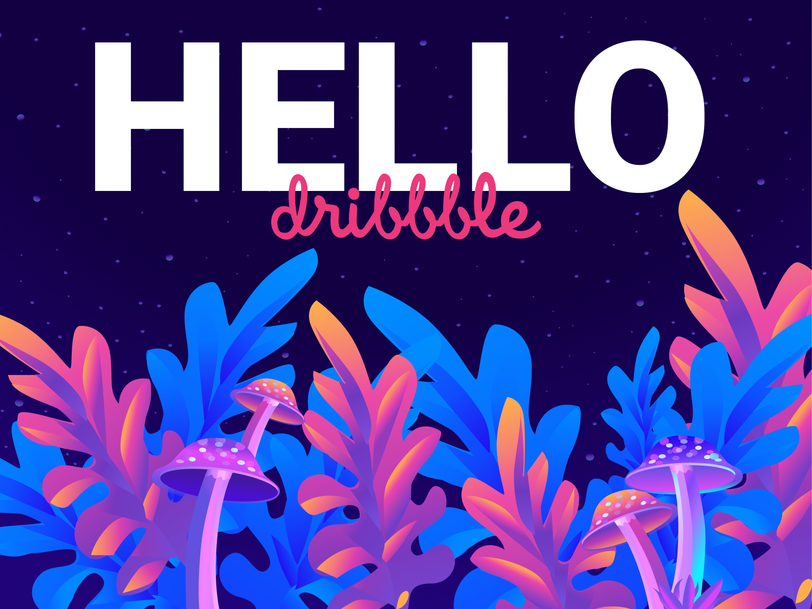 Hello Dribble flat ui vector design illustration