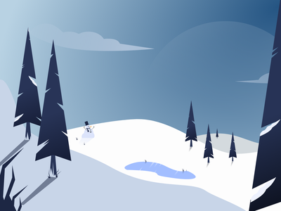 Snowy landscape illustration landscape snowy snow flat illustration design