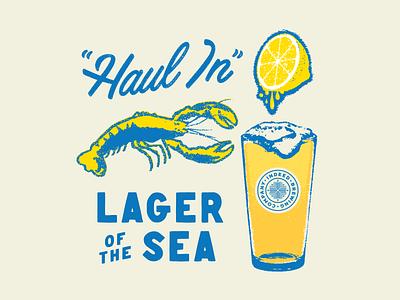 """""""Haul In"""" logo pull tab lobster beer"""