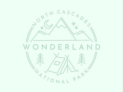 North Cascades National Park icon affinitydesigner type logo branding flat color vector illustration design