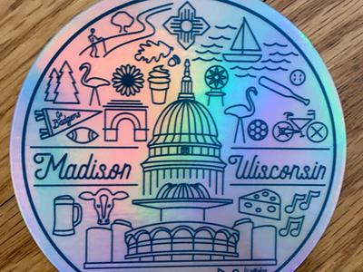 Madison WI sticker holographic icon sticker wisconsin madison