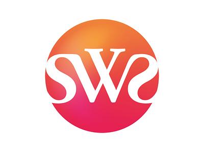 SWS modern classic stylish symbol orange pink gradient hue design vector branding logo