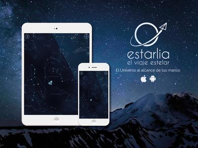 Estarlia, el viaje hacia las estrellas app logo branding ux ui design web