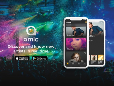 Amic, discover and know new artists in real time icon app branding ux ui logo web design