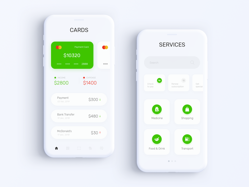 Privat24 Banking App - Cards & Services ux ui mobile minimal interface interaction inspiration fintech finance experience design data currency clean card business banking app bank account