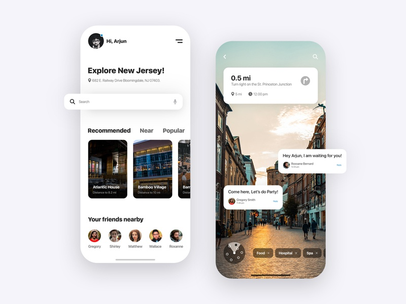 Augmented Reality (AR) Tour - Mobile App Concept ui kits screen app ui virtual reality virtualreality mobile ui designer uiux mobile app augmented reality augmentedreality augmented creative design