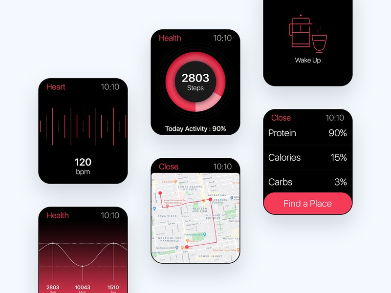 Health Fitness App for iWatch heartrate heartbeat fitness tracker tracker app tracker ui kits web mobile application apple app watch iwatch fitness app fitness health designer ui kit creative design