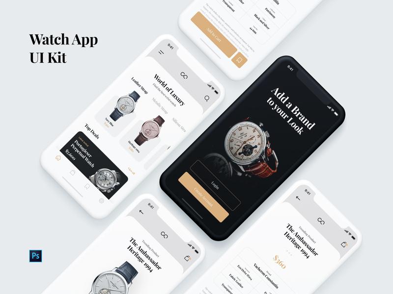 Watch App UI Kit branding design designer ui kit ui application design app app mobile store design store app store watches ecommerce app ecommerce watch