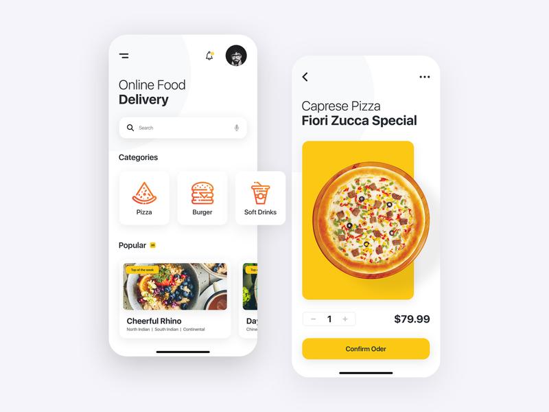 Online Food Delivery App modern online restaurant screens designer ui kit template ui creative food app clean design ios android application mobile app delivery food