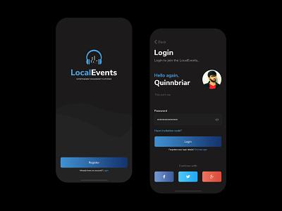 Local Events - Splash and Login - Dark Mode event branding app application ui kit events app design mobile ui design mobile app design login form register sign up signup sign in login design splash login event app event