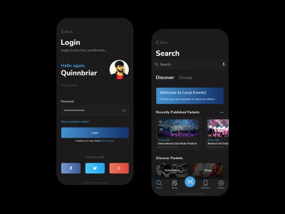 Local Events - Login and Listing - Dark Mode modern dark mode ios android app uiux event branding register signup signin login concert dance mobile application mobile app design ui design events app event app events event
