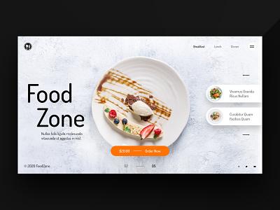 Food Zone landing ui kit template ui designer web app uiux ui design homepage landingpage header hero webdesign food and drink restaurant app restaurant food app food