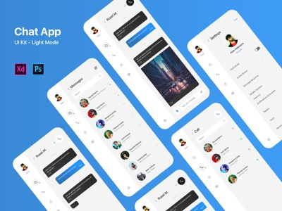Chat, Messenger App UI Kit Light Mode creative design messenger app messengers chatbot ui kit uikit message app message messenger chatting chat app chat