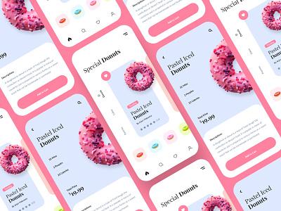 Donuts Mobile App mobile application design mobile ui kit shop app ecommerce app store app ui kit mobile app doughnuts donuts donut
