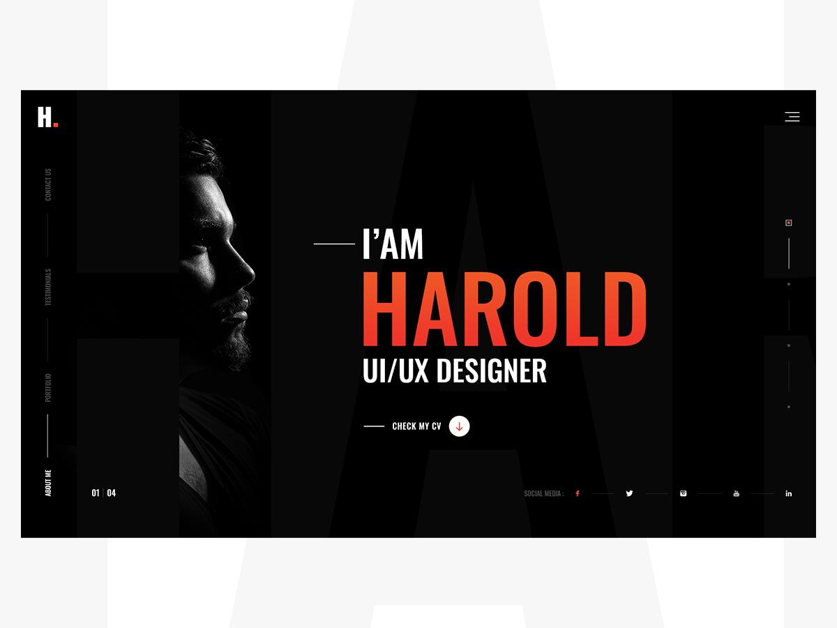 Epic Personal Portfolio homepage landing decent creative layout personal ui kits portfolio mockup template ux design ui design designer epic challenge design