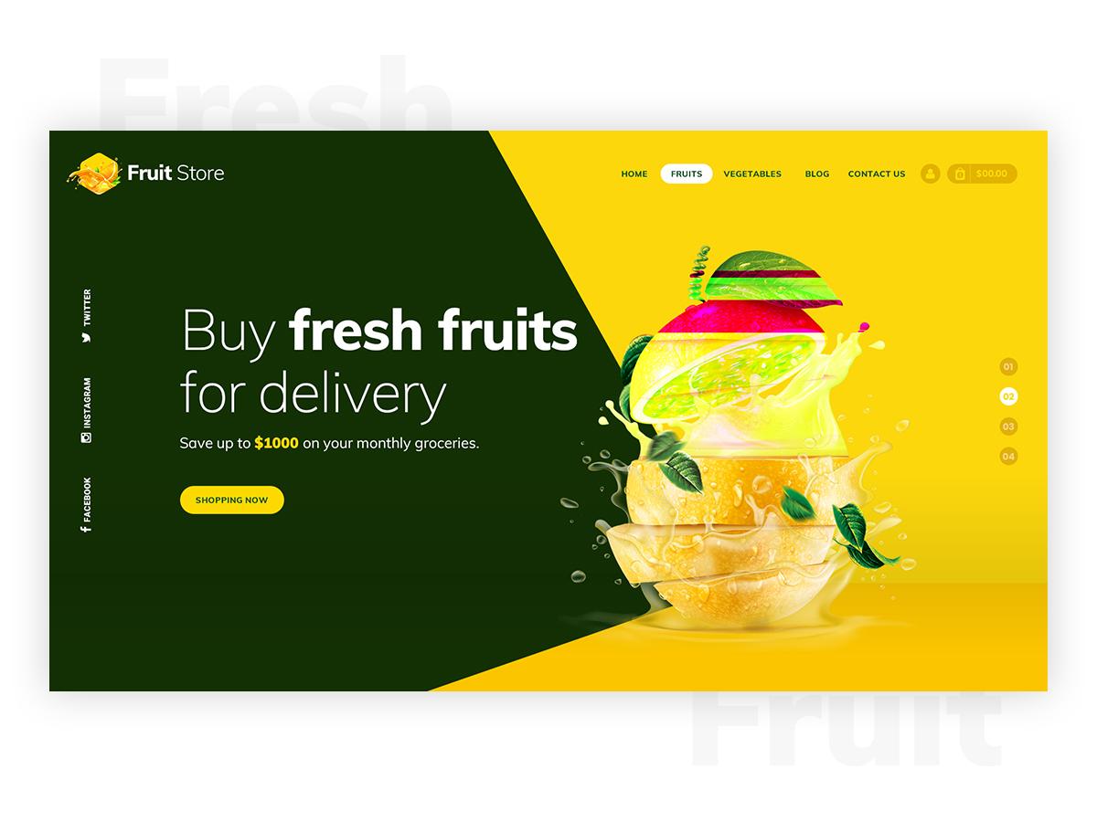 Fresh Fruits Delivery Hero Header delivery hompage hero landing portfolio mockup epic templates web designers design decent creative ui kits ui design