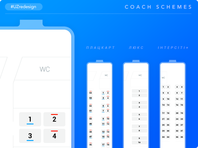 UZredesign #2 Coach Schemes railway train seats plan vector uzredesign redesign