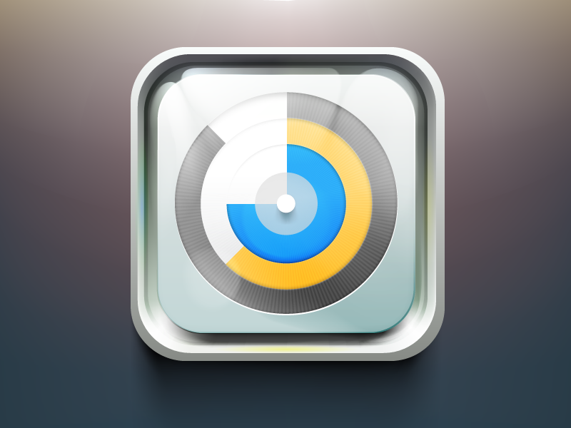 Wake App icon icon ios android ui blue yellow glass clock alarm shiny circle app appstore application ipad iphone realistic details metal texture button logo illustration simpletouch