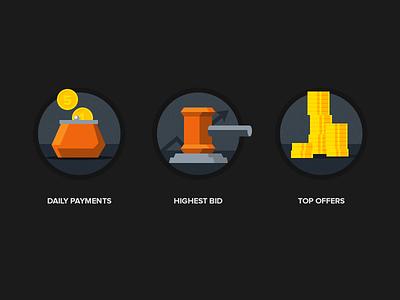 Flat icons icon flat metro ui payments offers bid coins money orange yellow dark grey bright