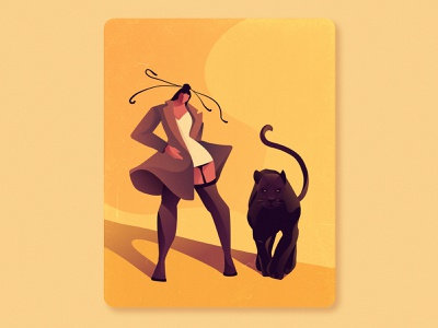 The girl and the panther inspiration art direction procreate art vector art girl power bold animal illustration procreate vector illustrator art graphic design artwork illustration