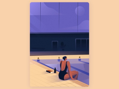 The Girl And The Pool woman graphic designers vector art direction illustrator art design graphic design artwork illustration