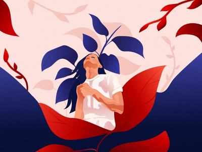 Girl and her Plants Illustration art direction graphic designers graphic designer illustrator artwork plants illustration commision editorial illustration vector illustrations sketch girl drawing woman red and blue illustration design vector illustration graphic design vector design illustration adobe