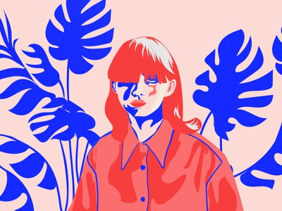 Visions of Gideon | Plants and Sunlight pink hair girl illustration girl drawing woman girl blue plants flowers bulgarian artwork graphic designers logo inspiration illustrator design art illustration graphic design art direction adobe