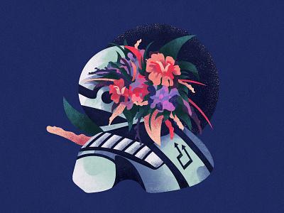L'amour bleu interstellar space flower art direction ui ux web design app branding inspiration vector illustrator artwork art graphic design illustration blue astronaut amour