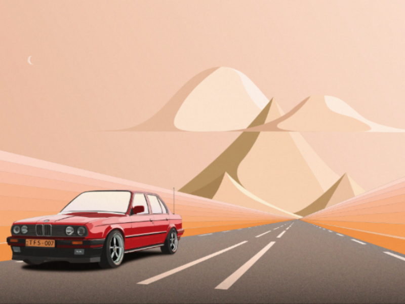 Infinity vintage m3 e30 bmw car illustration art