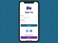 """Sign Up"" for a book app:)"