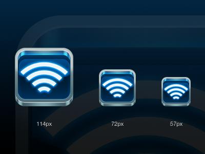 iOS App Icon blue metal glow ios app iphone lines wifi