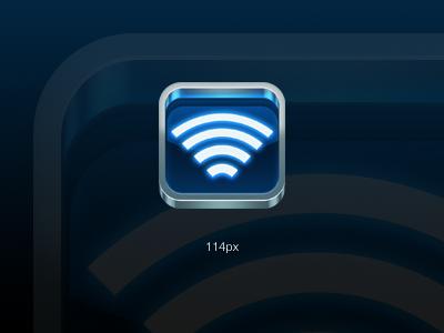 iOS App Icon (Perspective Fix) wifi lines iphone app ios glow metal blue