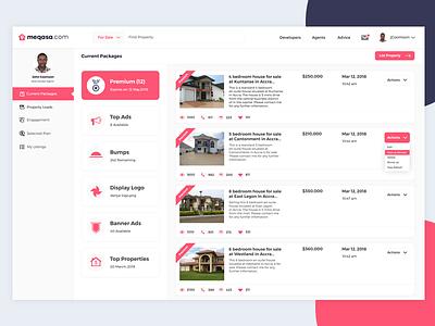 Dashboard (Current Packages) shot. real estate dashboard real estate agent real estate web ux ui dashboard