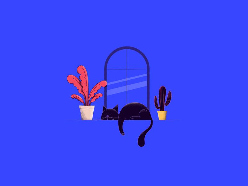 Lazy plant window vector cat illustration