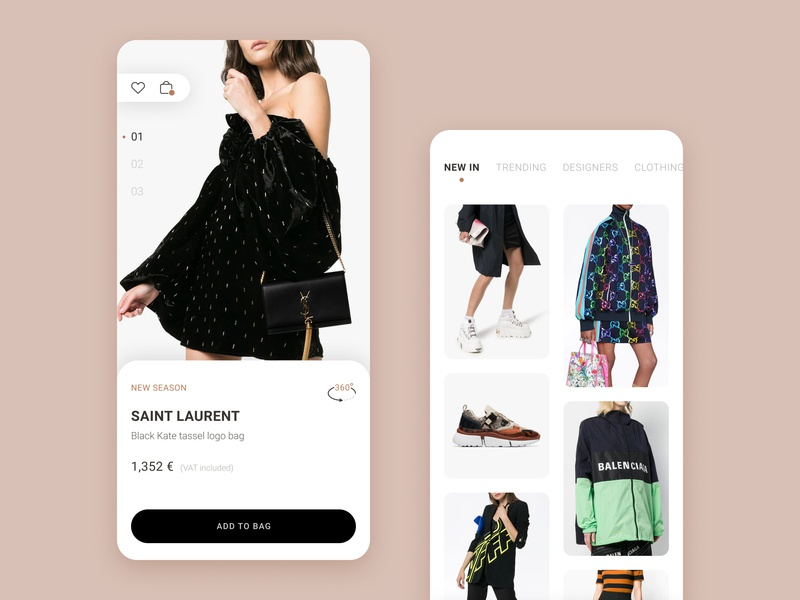 Day 54 ecommerce j3gors ux ui design invisionstudio 365 daily challenge app apps application online store shop app clothes shop luxury brand minimal app clean app design product card store design product catalog cards design cart add to cart balenciaga off-white