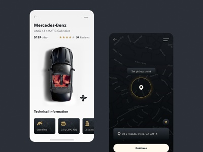 Day 57 minimal clean ui dark app cabriolet luxury car mercedes benz car rental car sharing uber product card map transport app vehicle rental app car rent app apps application 365 daily challenge ux ui design j3gors
