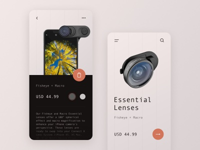 Day 59 hasselblad sony canon lenses lines gadget device ecommerce shop shopping cart photography iphone xs max camera lens mobile ui product card product page clean ui minimal 365 daily challenge ux ui design j3gors